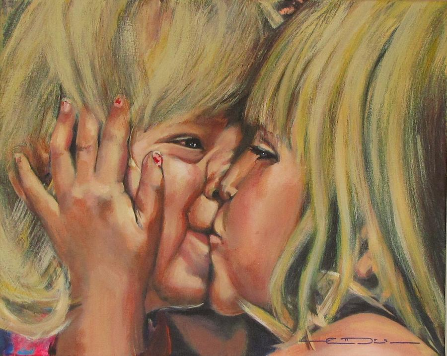 My Oldest Giving My Youngest A Big Smooch! Painting - Little Sister by Eric Dee