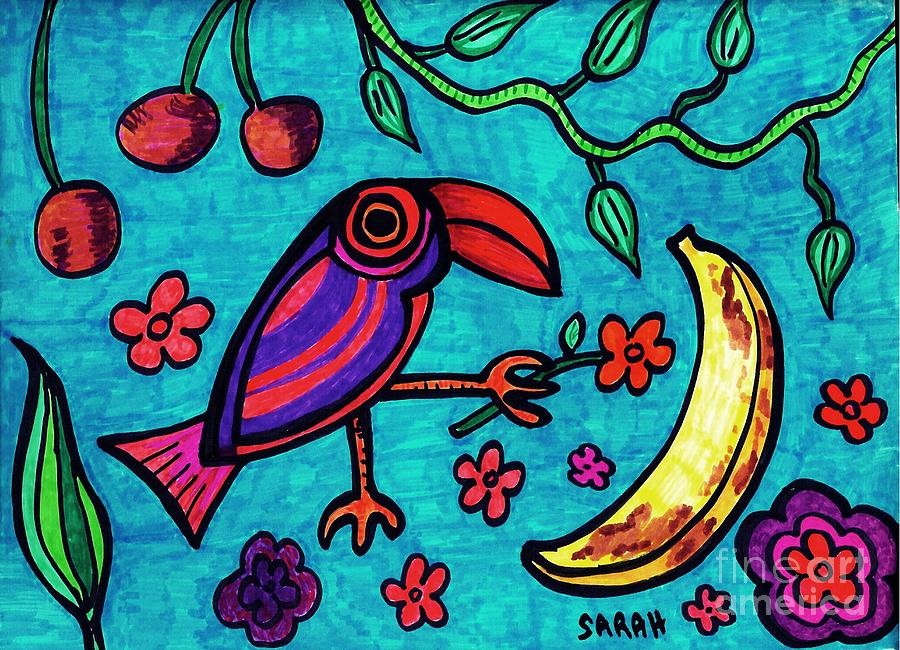 Bird Drawing - Little Toucan by Sarah Loft