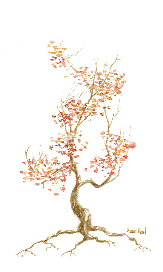 Bonsai Tree Painting - Little Tree 52 by Sean Seal