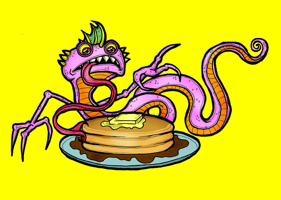 Lizard Drawing - Lizard V. Pancakes by Christopher Capozzi