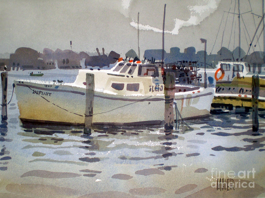 Lobster Boat Painting - Lobster Boats In Shark River by Donald Maier