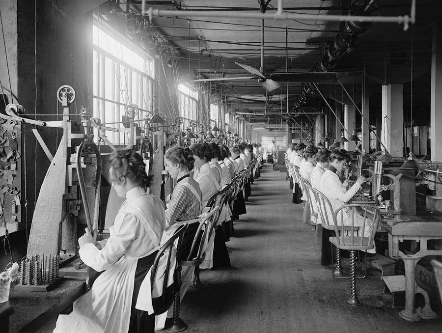 History Photograph - Lock And Drill Department Assembly Line by Everett