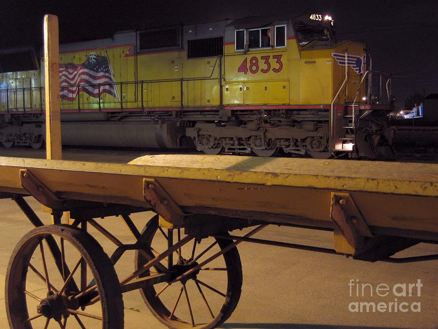 Locomotive And Baggage Cart Photograph