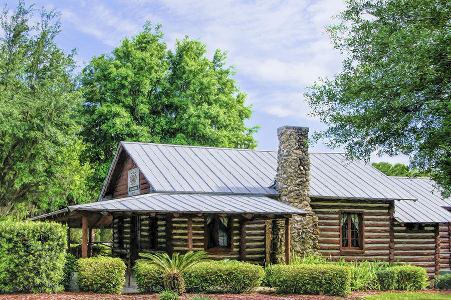 Log Cabin In Lady Lake Photograph By Betty Eich