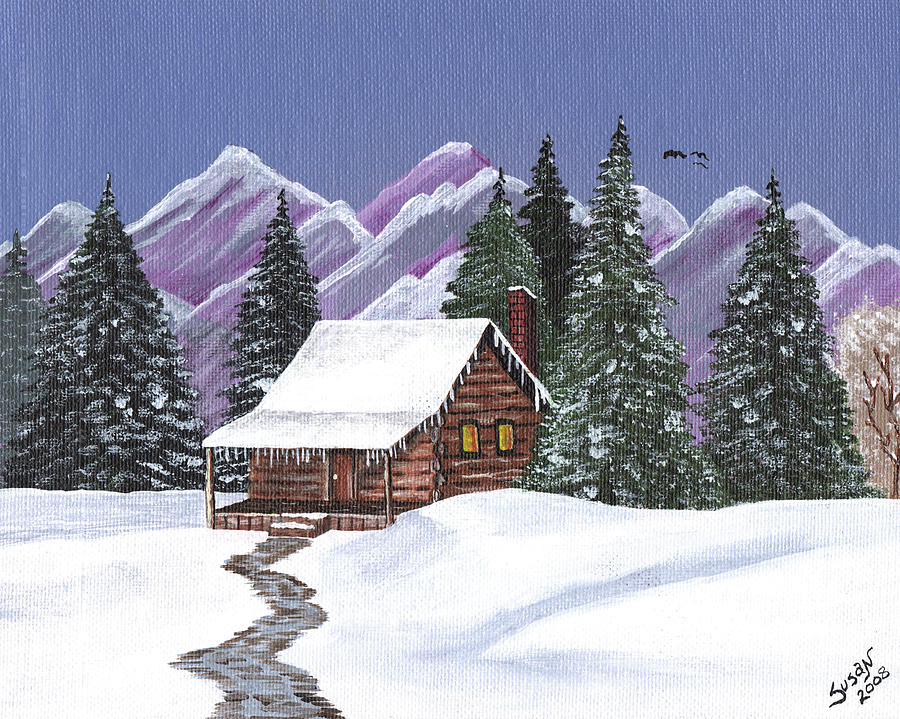 Log cabin in the snow painting by susan cliett for Log cabin painting