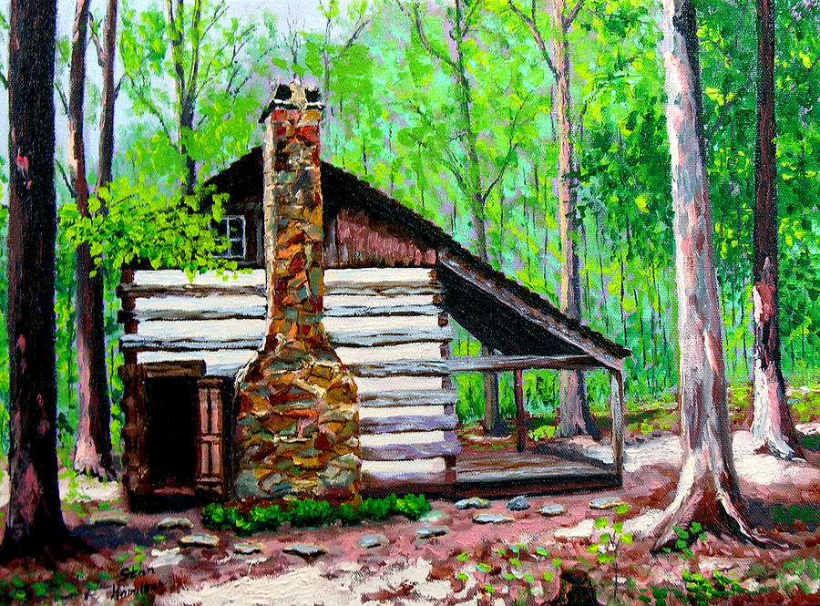 Log cabin v painting by stan hamilton for Log cabin painting