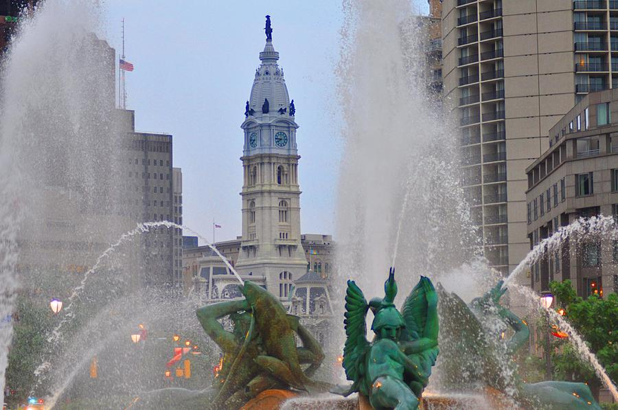 Fountain Photograph - Logan Circle Fountain With City Hall In Backround 2 by Bill Cannon