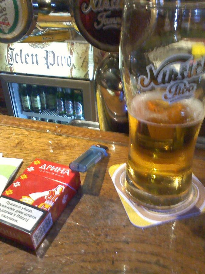 London Caffe Mama Sherwood Drina Original Photo Cigarets Filtered Lighter Glass Beer Jelen Niksicko Desk Bar Night Half Bottle  Photograph - London by Milija Jakic