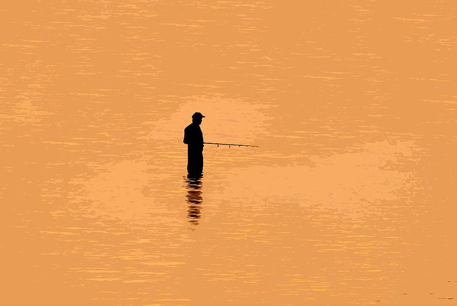 Lone Fisherman Painting