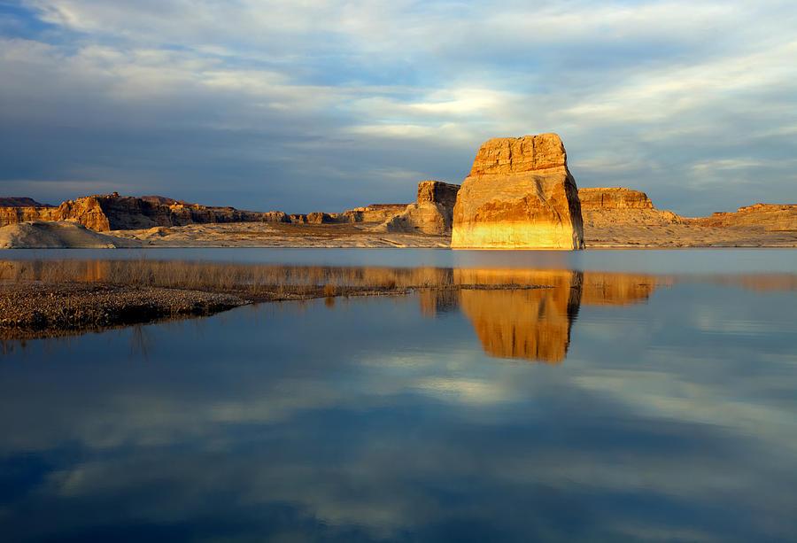 Lone Rock Photograph - Lone Rock Glow by Mike  Dawson