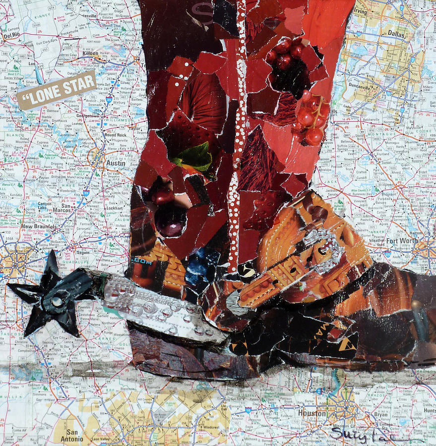 Torn Paper Collage Painting - Lone Star Spur by Suzy Pal Powell