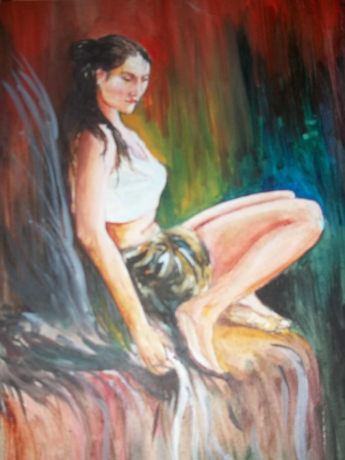 Girl Painting - Loneliness Makes The Beauty by Sumanta Bose