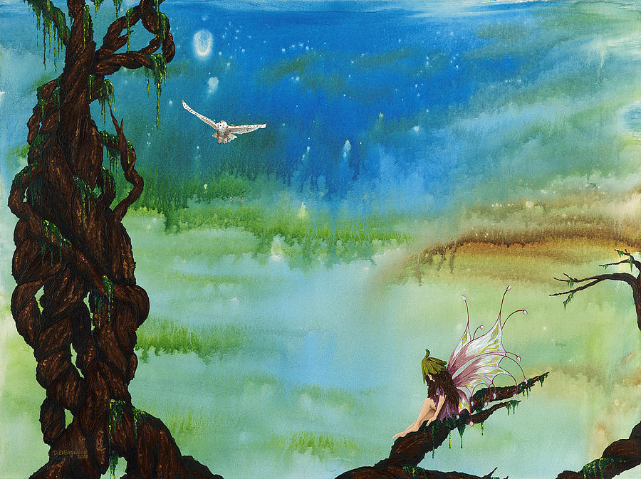 Fairy Painting - Lonesome Fairy by Deborah Ellingwood