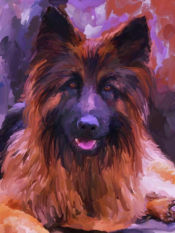 Long Haired German Shepherd Painting