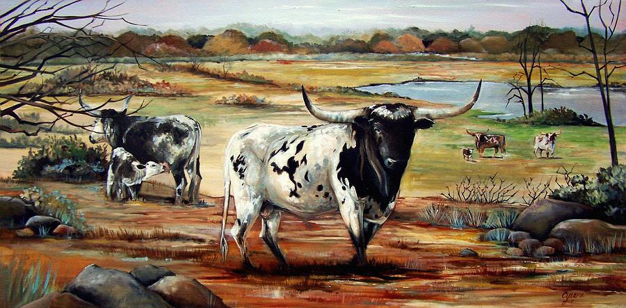 Longhorn Bull Texas Western Cattle Landscape Animal Oil Painting Pasture Oklahoma Northeast Texas Land   Painting - Longhorn Land by Cynara Shelton