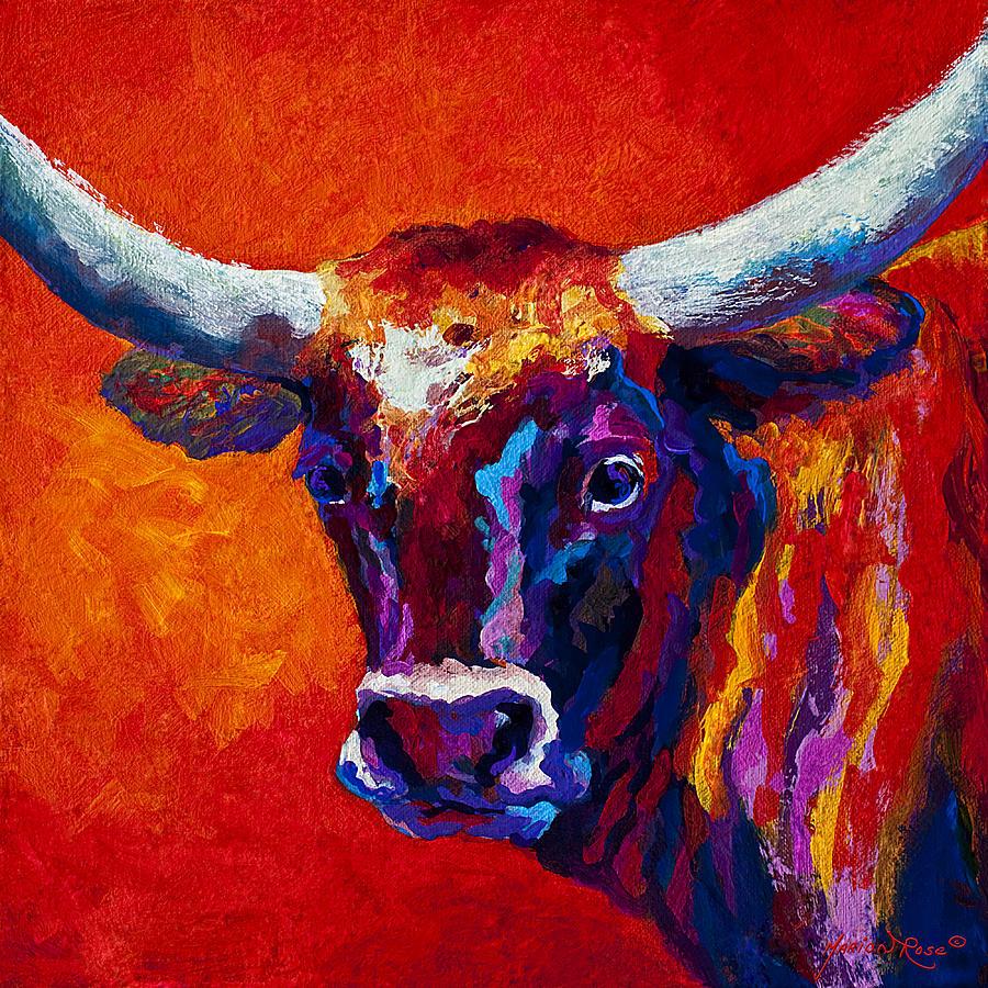 Longhorn Painting - Longhorn Steer by Marion Rose