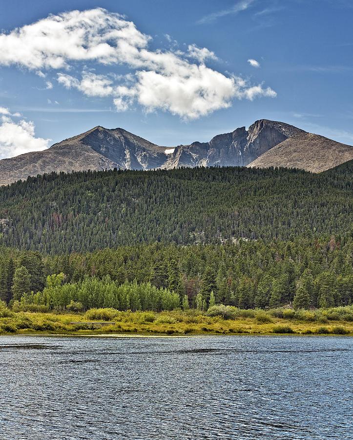 longs Peak Longs Photograph - Longs Peak And Mount Meeker Above Lily Lake In Rocky Mountain National Park Colorado by Brendan Reals