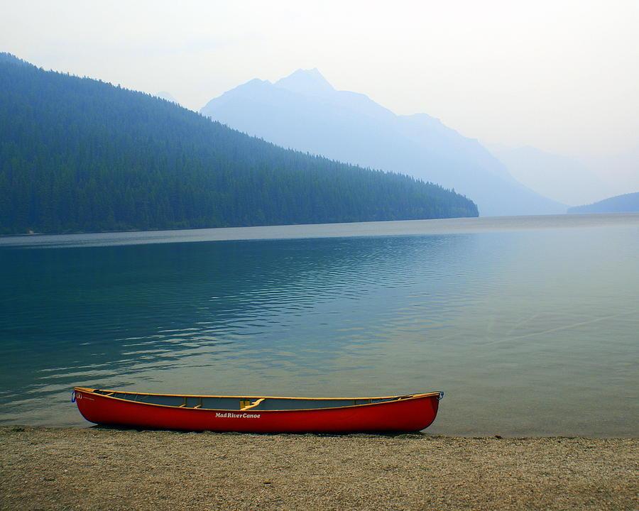 Glacier National Park Photograph - Lonly Canoe by Marty Koch