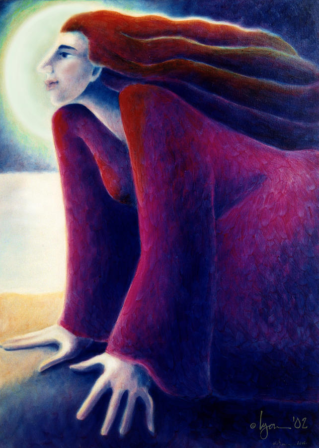 Dreams Painting - Look To The Moon by Angela Treat Lyon
