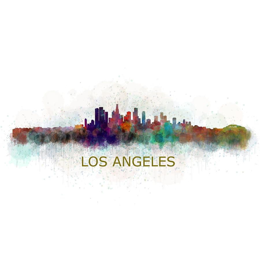 Los angeles city skyline hq v4 painting by hq photo for Painting in los angeles