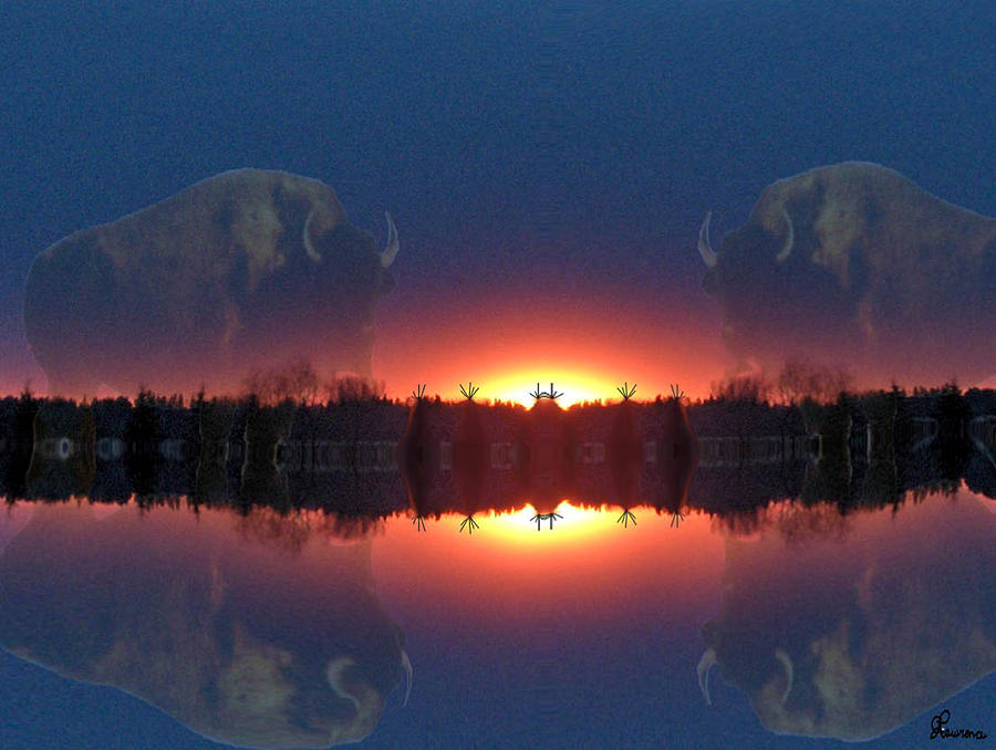 Tee Pee Native Buffalo Bison Lake Water Trees Forest Nature Reflection Lost World Photograph - Lost World Reflections by Andrea Lawrence