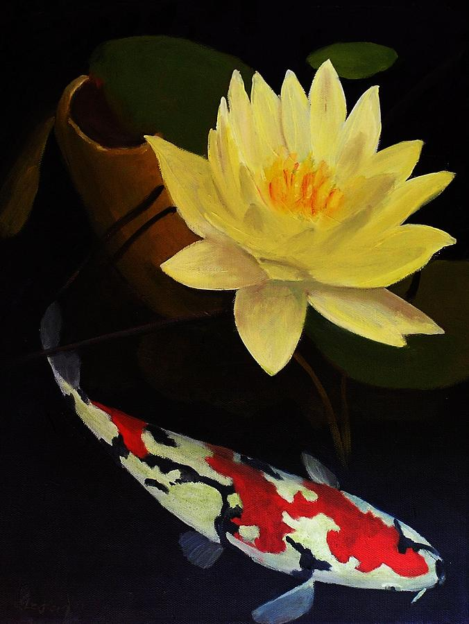 Lotus And Koi- Plant And Animal Painting Painting