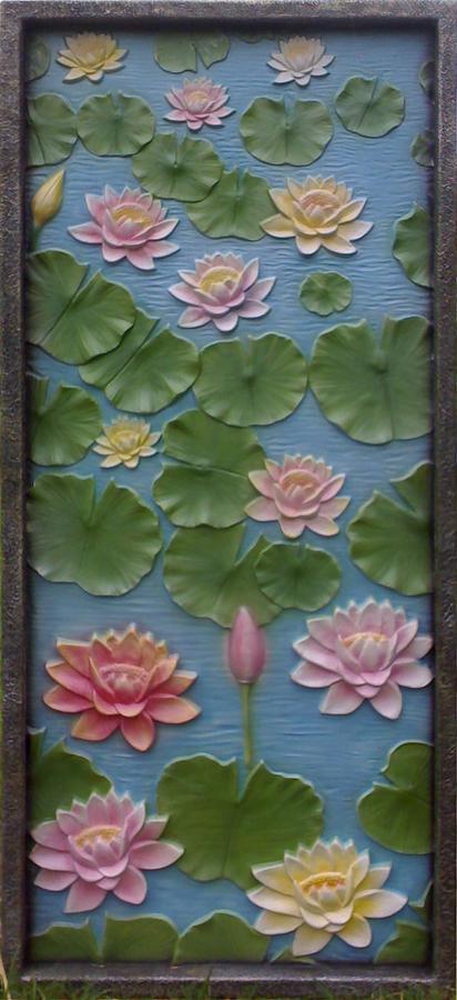 Mural Relief - Lotus by Parmjit Rana