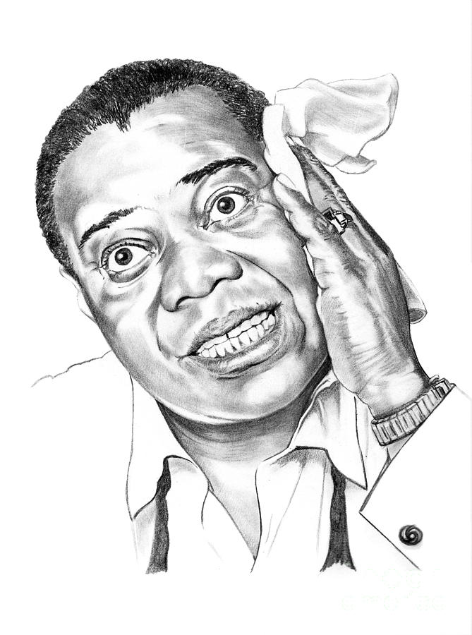 Music Drawing - Louis Satchmo Armstrong by Murphy Elliott