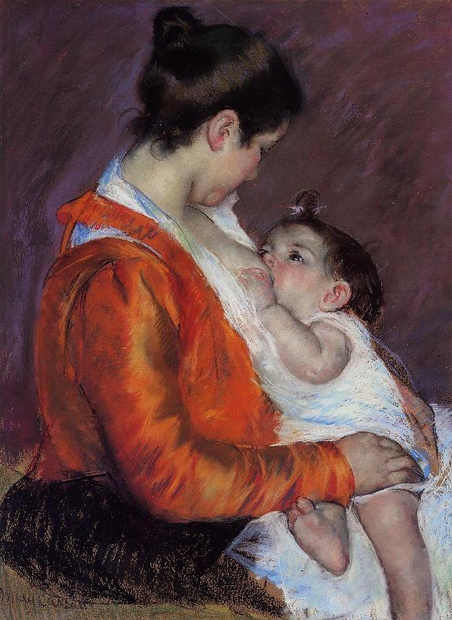 Marry Cassatt Digital Art - Louise Nursing Her Child by Marry Cassatt
