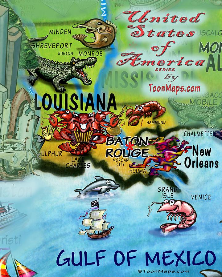 Louisiana Fun Map Digital Art