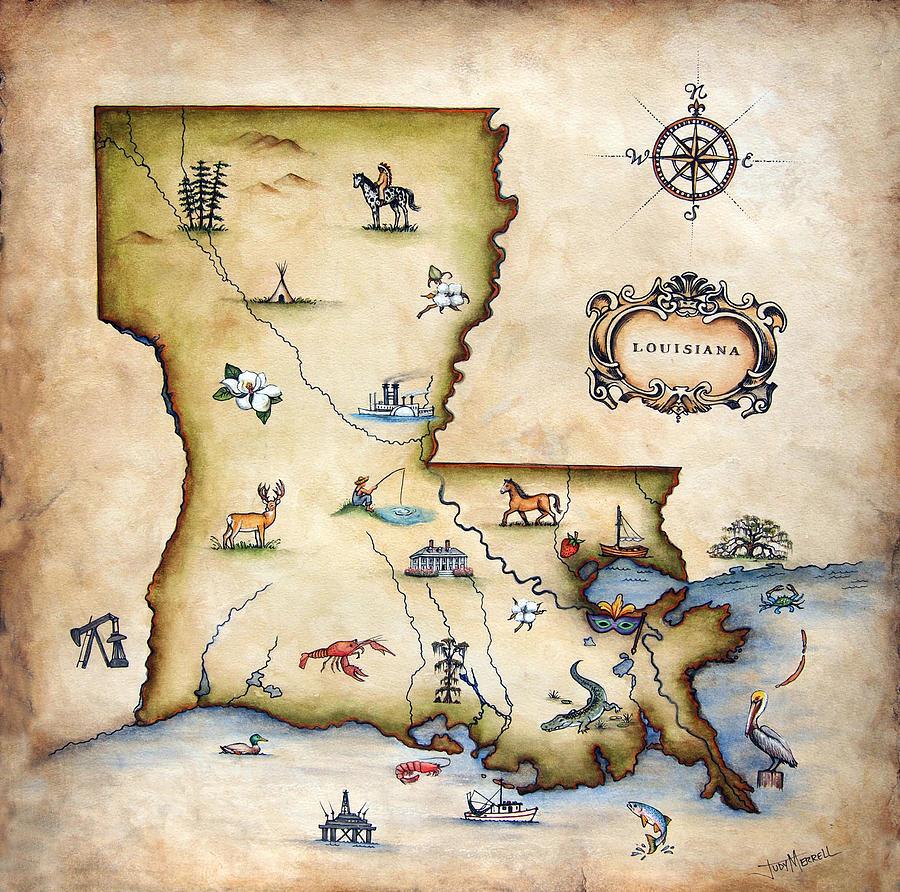 Louisiana Painting - Louisiana Map by Judy Merrell