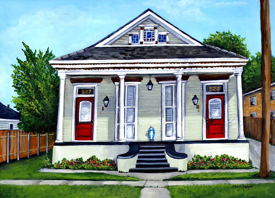 House Painting - Louisiana Shotgun Double by Elaine Hodges