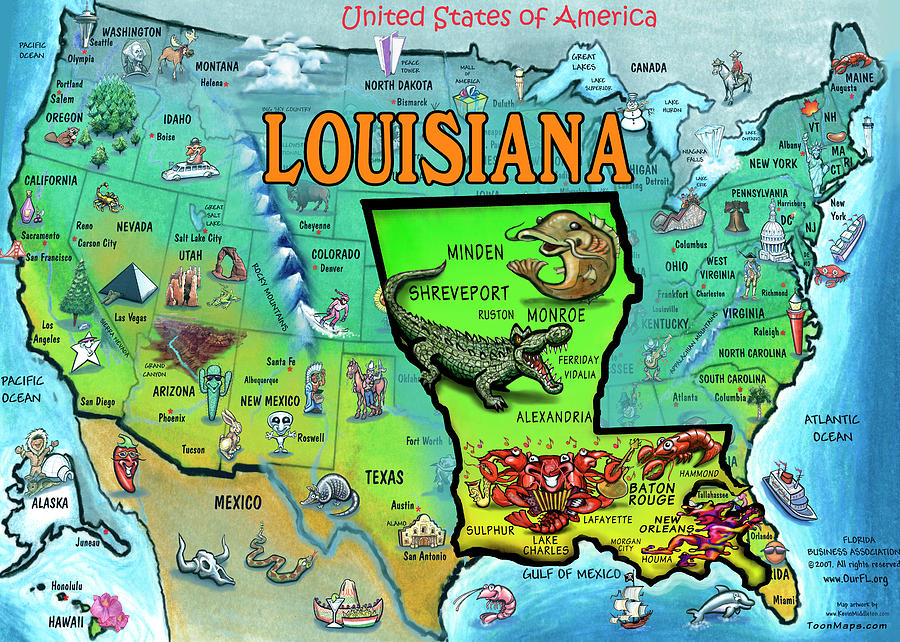 Louisiana Usa Cartoon Map Painting By Kevin Middleton