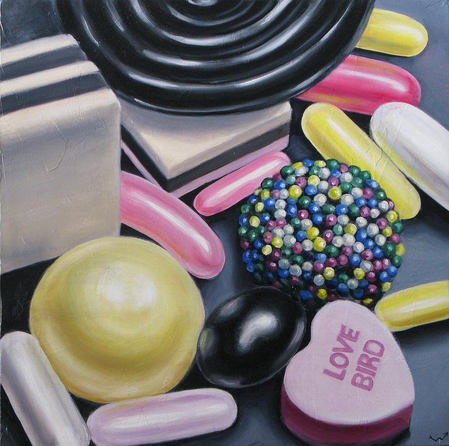 Candy Painting - Love Bird by Kelly Heinze