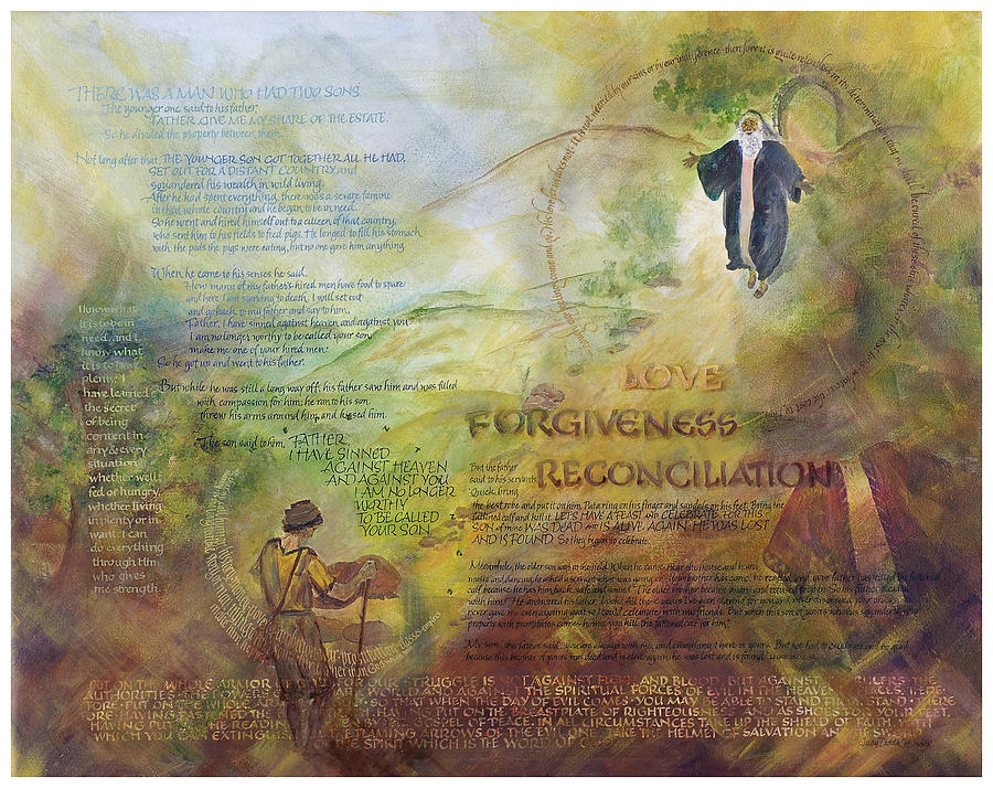 God's Faithfulness Painting - Love Forgiveness Reconciliation by Judy Dodds
