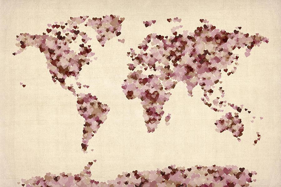 World Map Digital Art - Love Hearts Map Of The World Map by Michael Tompsett