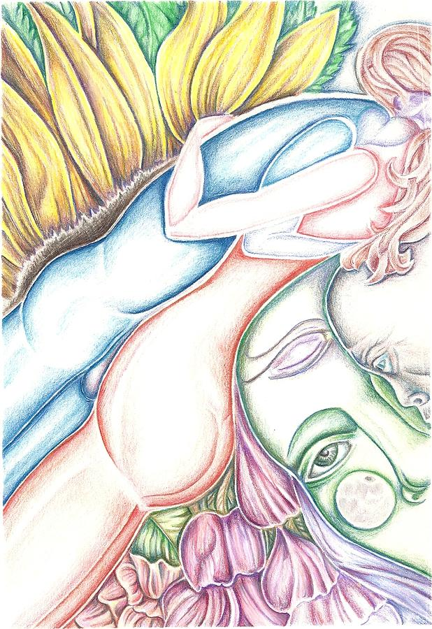Lovers Drawing - Lovers Plus One by Karen Musick