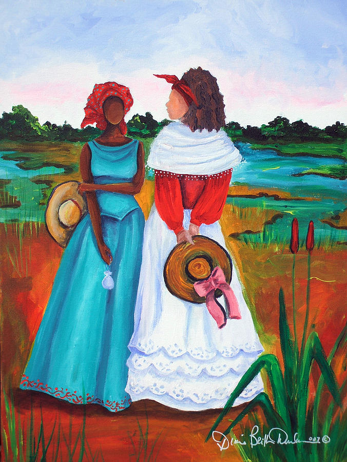 Gullah Painting - Low Country Ladies by Diane Britton Dunham