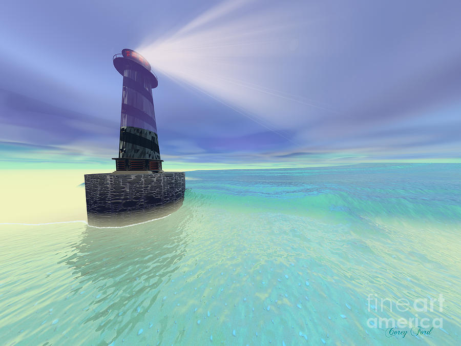 Lighthouse Painting - Low Fog by Corey Ford
