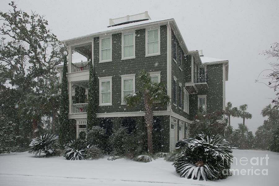 Lowcountry Home In The Snow Photograph