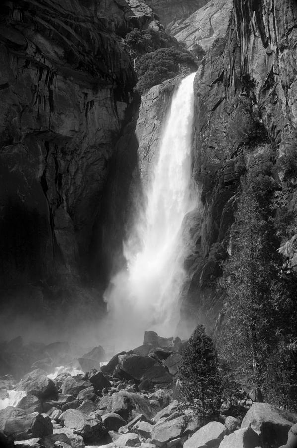 Yosemite River Waterfalls Black White Landscape Photograph - Lower Yosemite Falls by Daren  Le