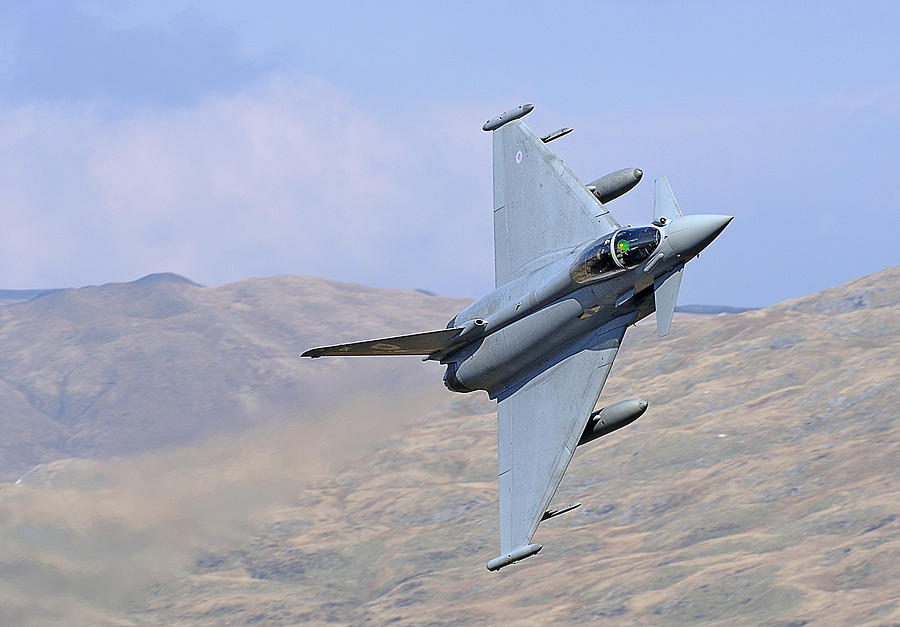 Jet Photograph - Lowflying Typhoon In The Welsh Hills 01 by Barry Culling