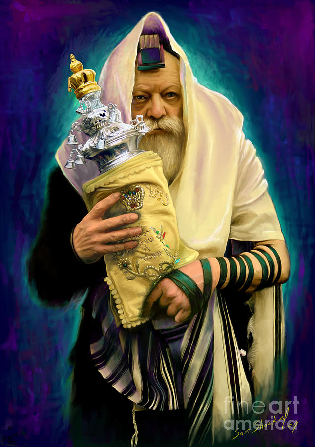 Lubavitcher Painting - Lubavitcher Rebbe With Torah by Sam Shacked