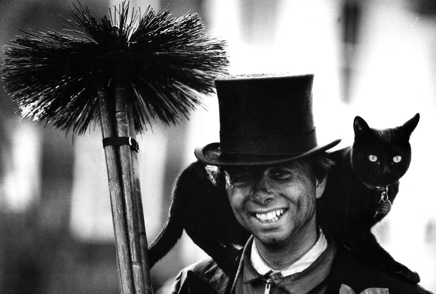 Lucky Black Cat And Chimney Sweep Photograph By Simon Dack
