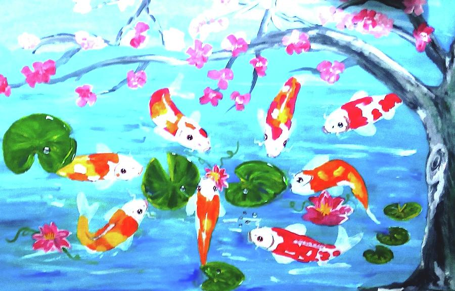 Lucky koi painting by nelson tapel for Lucky koi fish
