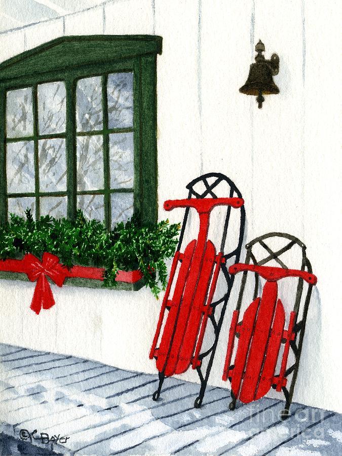 Sleigh Painting - Luges De Noel by Caroline Boyer