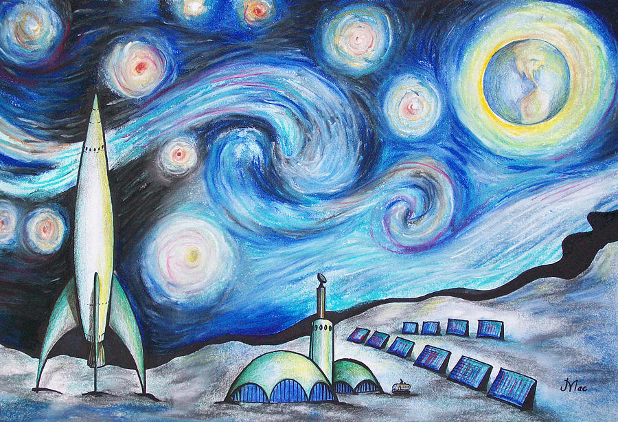 Space Drawing - Lunar Starry Night by Jerry Mac
