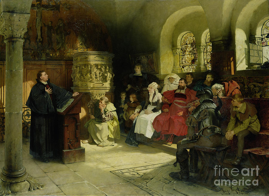 Vogel Painting - Luther Preaches Using His Bible Translation While Imprisoned At Wartburg by Hugo Vogel