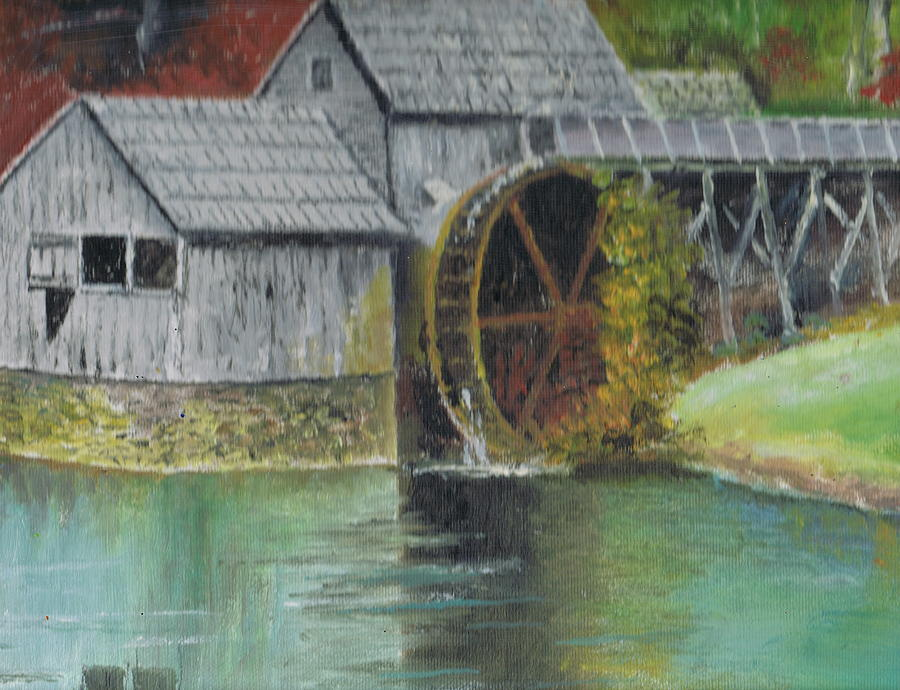 Grist Mill Painting - Mabry Mill In Virginia Usa Close Up View Of Painting by Anne-Elizabeth Whiteway