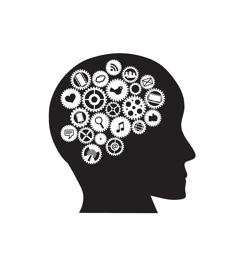 Machine Gears Human Head With Social Media Symbols ...